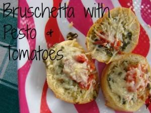 Brushcetta with Pesto & Tomatoes
