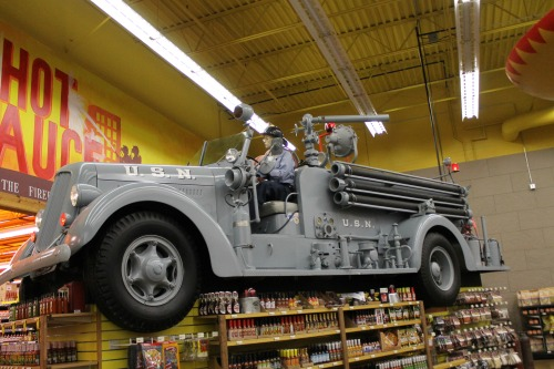 They have so many hot sauces at Jungle Jim's that they need to have a fire truck on hand!