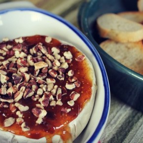 Easy Appetizer ::  Baked Brie with Fig Spread & Pecans
