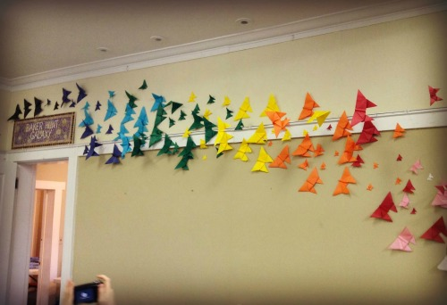 DIY Origami Butterfly Installation