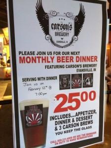 Izzy's Beer Dinner Sign