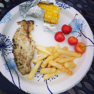 Tilapia Dinner at the Pool
