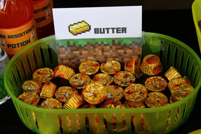 Minecraft Birthday Party Butter