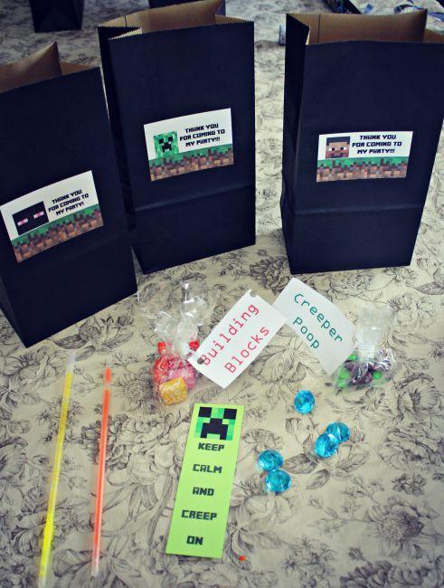 Minecraft Birthday Party Goodie Bag