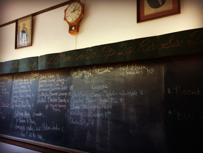 Schoolhouse Restaurant Menu